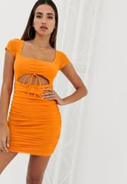 Minikleid mit Raffdesign vorn-Orange