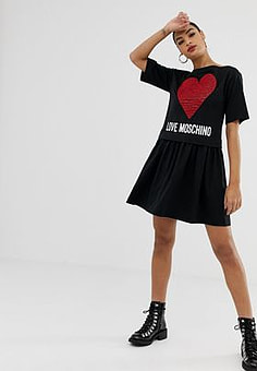 Love Moschino Doppellagiges Kleid mit Herzdesign