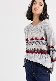 Native Youth Strickpullover mit Norwegermuster
