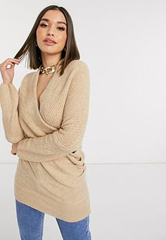 Never Fully Dressed Harley – Pullover in Beige mit Wickeldesign