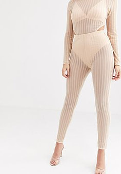 Rare London – Transparente, gerippte Leggings mit integriertem Slip in Beige