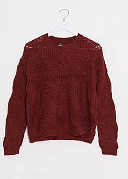 ONLY Havana – Roter Pullover mit Lochmuster