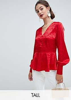 Y.A.S Jacquard-Top mit Knopfleiste-Rot