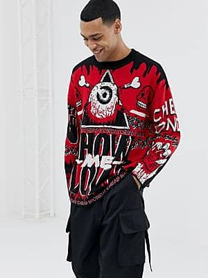 Cheap Monday Roter Pullover mit 'Show Me Love'-Design
