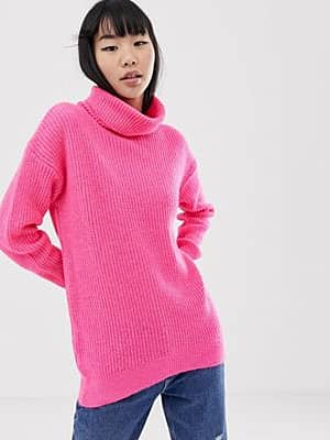 New Look Rollkragenpullover in Neonrosa