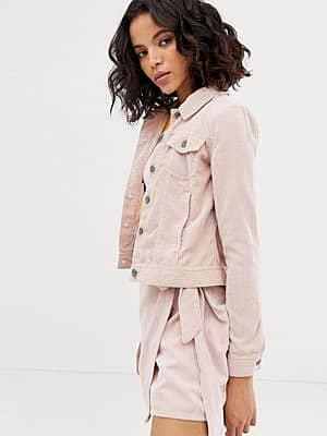 Only Cord-Jeansjacke-Rosa