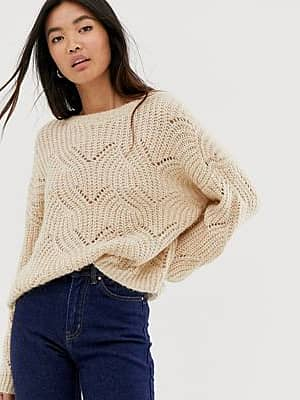 Only Pointelle-Pullover in Beige-Grau